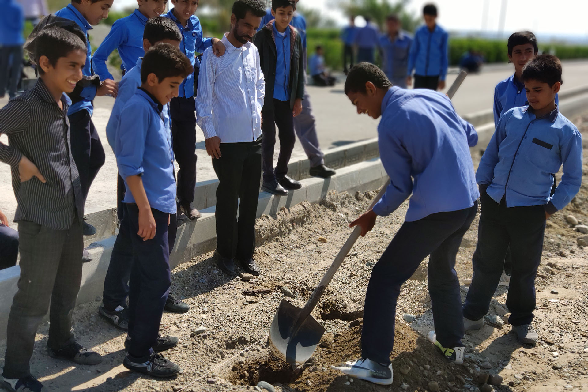 Planting Trees by Students at Rudshur and Shobad Power Plant